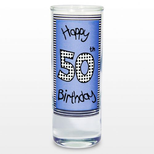 Blue 50th Happy Birthday Shot Glass Gift keepsake